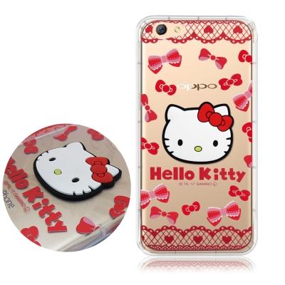 正版授權 Hello Kitty OPPO R9s 5.5吋立體大頭空壓手機殼(...