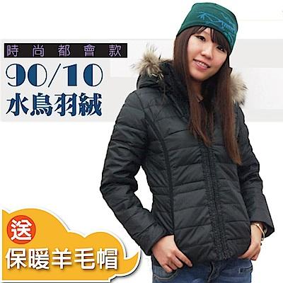 【荒野 wildland 】女款 貉子毛單件式保暖羽絨外套_黑