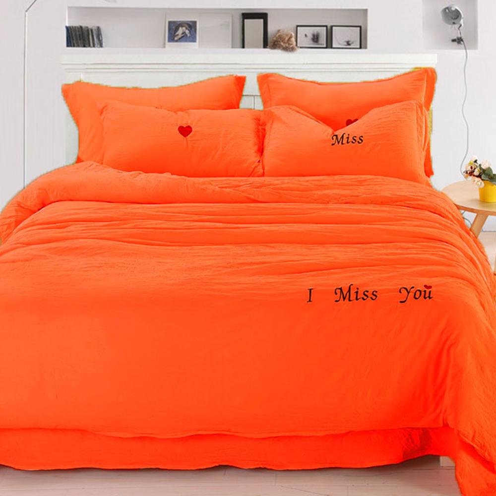 生活提案 - 泡泡棉 雙人被套床包組 - 最美的遇見(橘色)