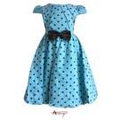 Annys甜美公主袖蕾絲蝴蝶結點點洋裝*5226水藍
