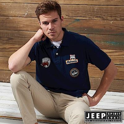 JEEP 時尚美式貼布素面短袖POLO衫-藍色