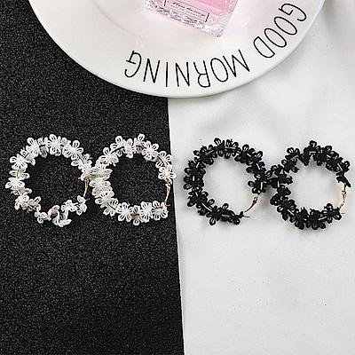 梨花HaNA 韓國性感指標蕾絲花卉圈圈耳環