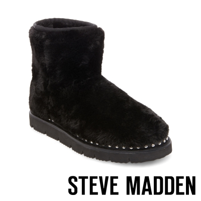 STEVE MADDEN-BEAR 鉚釘毛絨雪靴-黑色