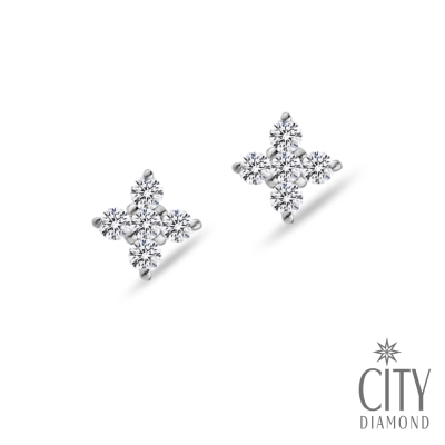 City Diamond引雅【Belief十字架系列】『雪花十字』K金耳環