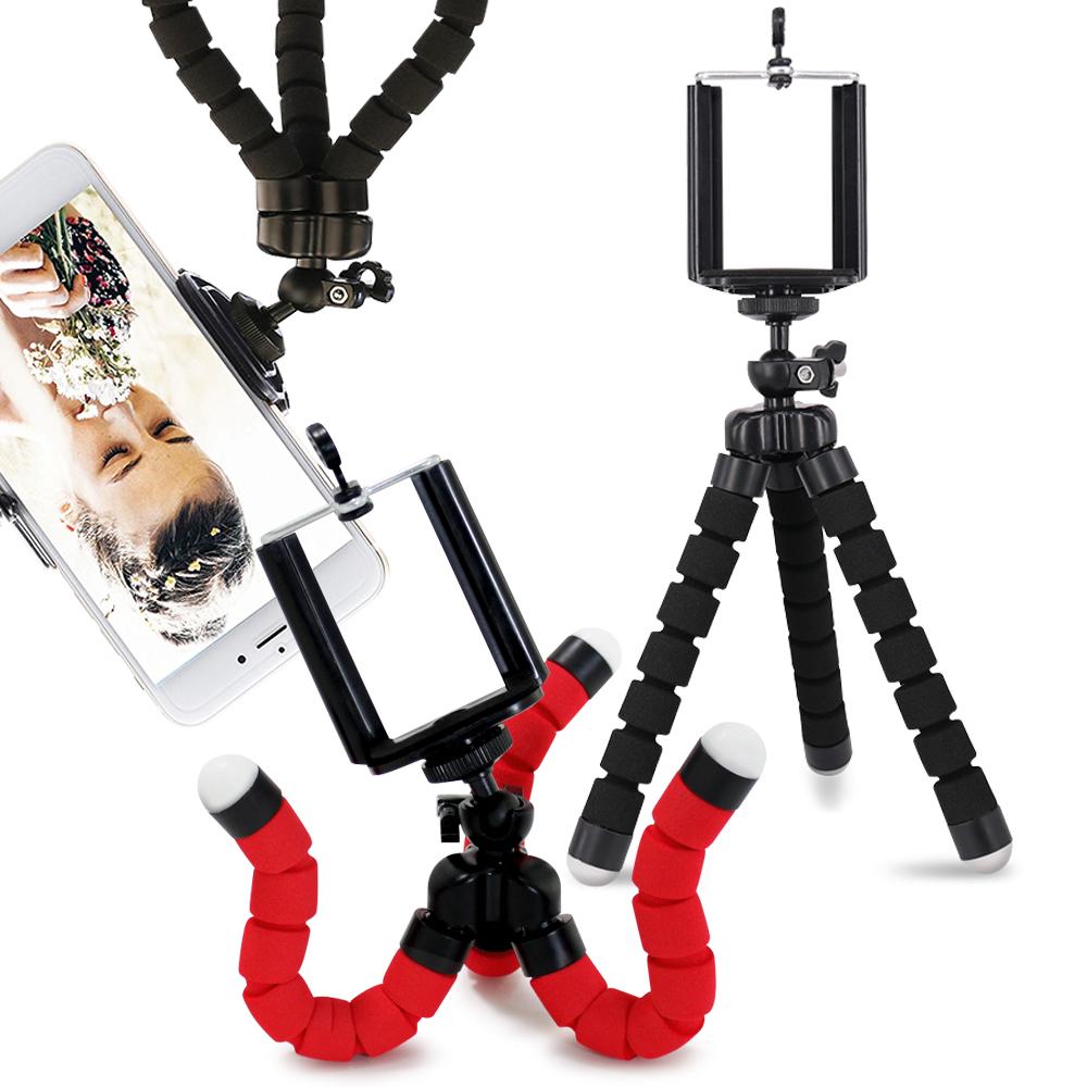 Aisure 迷你海綿章魚三腳架-手機 數位相機通用支架 黑+紅一組