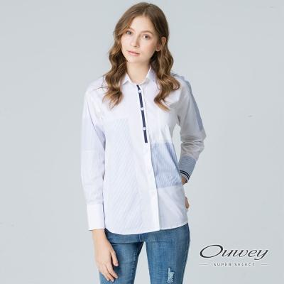 OUWEY歐薇 率性跳色剪接寬襬上衣(白)