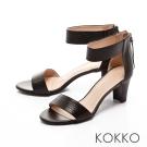 KOKKO-經典復古真皮ㄧ字帶拉鍊高跟涼鞋-黑色