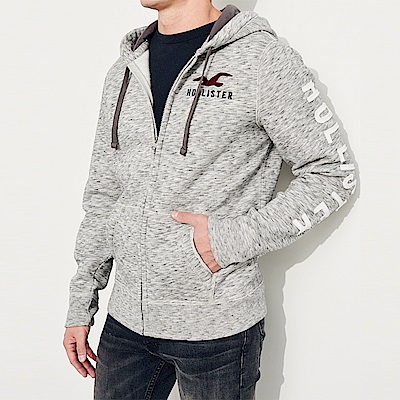 HCO Hollister 經典標誌連帽外套-麻花灰色
