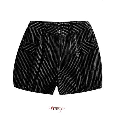 Anny條紋金蔥雙口袋短褲* 3460 黑