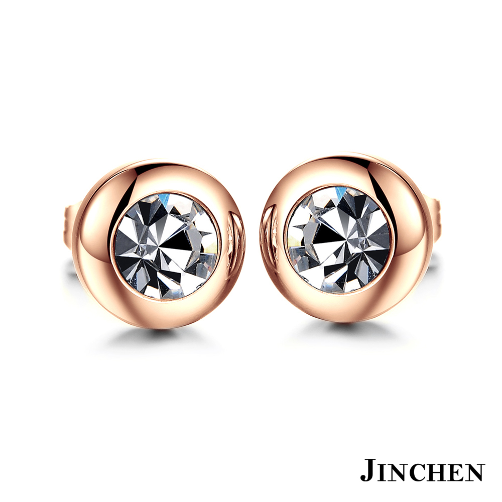 JINCHEN 白鋼復古水晶耳環 玫瑰金