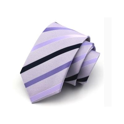 拉福 淡紫斜領帶7.5cm中寬版領帶拉鍊領帶 (紫)