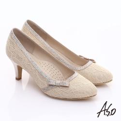 A.S.O 甜蜜樂章 優雅美型蕾絲緞布蝴蝶結鑽飾中跟鞋 金