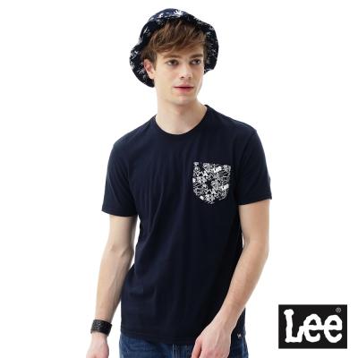 Lee 短袖T恤 卡通印刷口袋短袖圓領TEE/RG-男款-藍