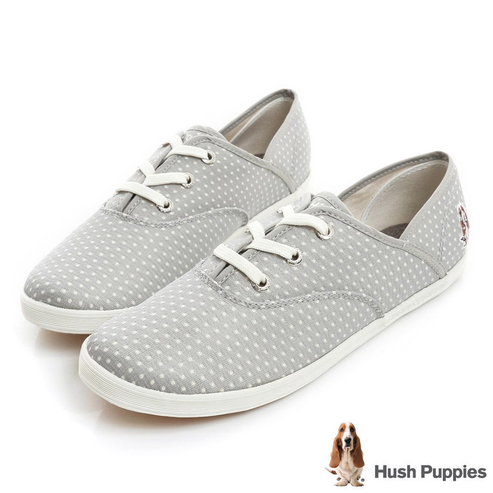 Hush Puppies 金屬感洞洞咖啡紗帆布鞋-淺灰