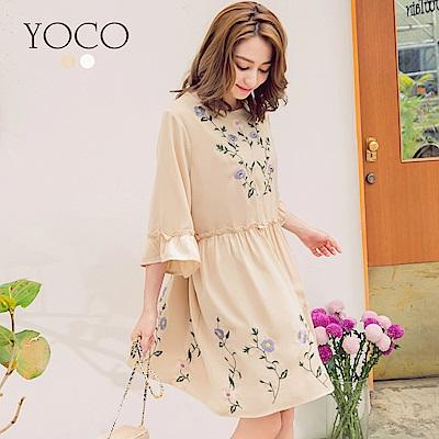 東京著衣-yoco 南法女孩荷葉傘袖刺繡娃娃洋裝-S.M.L(共二色)