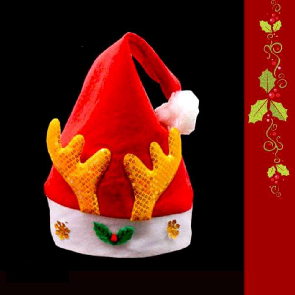 耶誕派對-小金亮片鹿角金雪花聖誕帽(兒童)