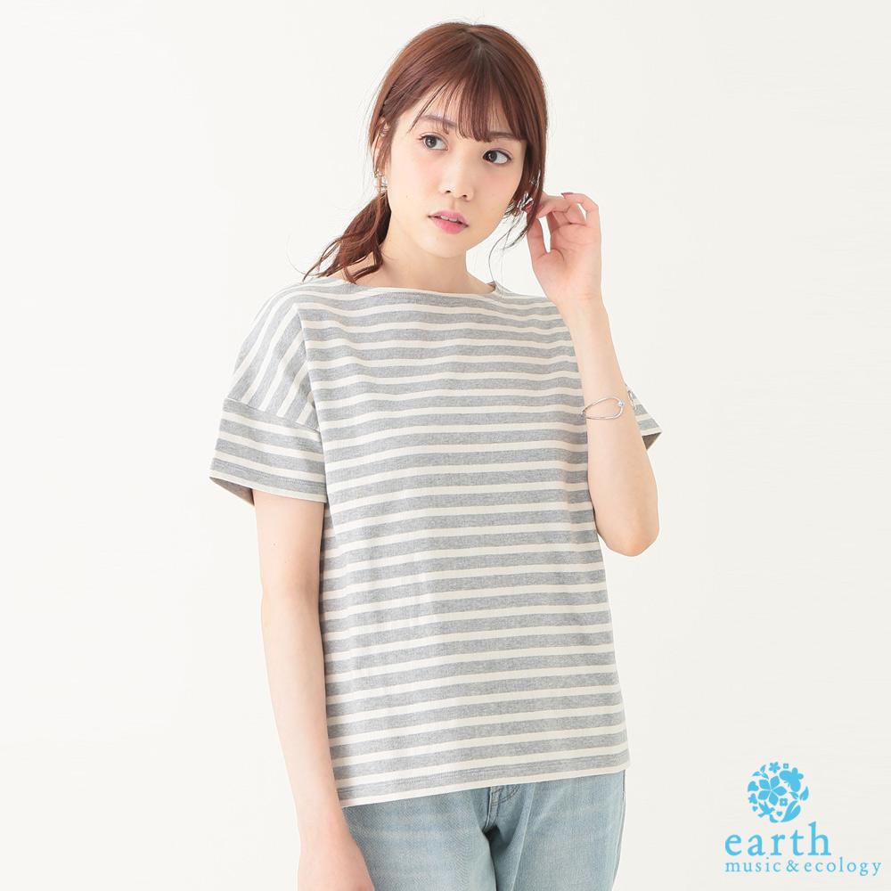 earth music 船型領定番條紋上衣