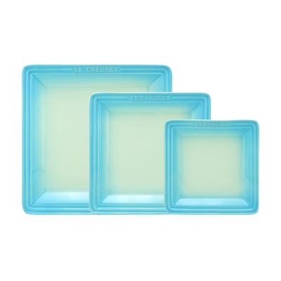LE-CREUSET-瓷器正方盤-16-21-27cm-各一入-淡粉藍
