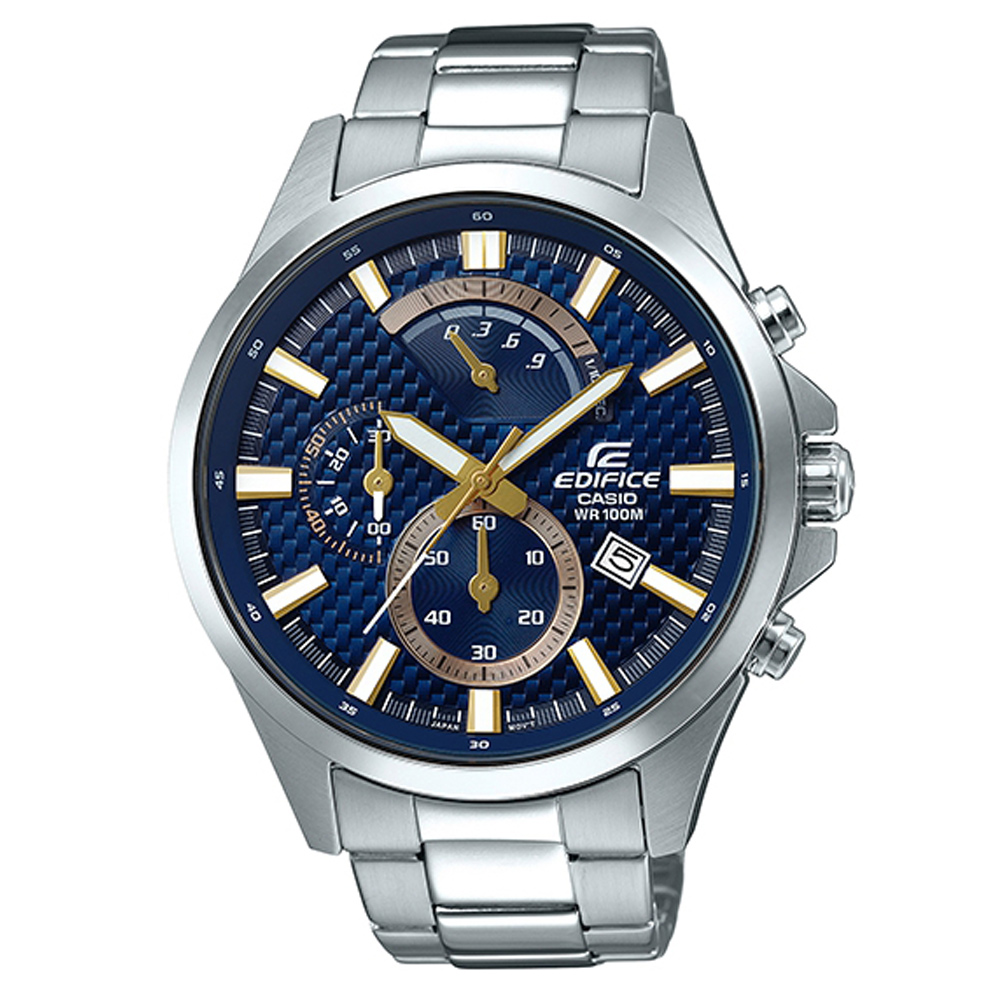 EDIFICE編織感格紋三眼設計賽車計時腕錶(EFV-530D-2A)藍面47.2mm