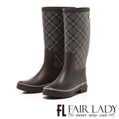 Fair Lady 經典菱格都會感雨靴 黑格