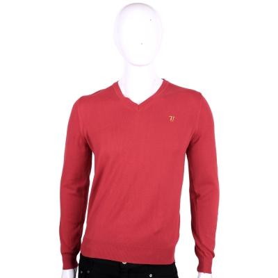 TRUSSARDI-JEANS 紅色素面 V領長袖針織衫