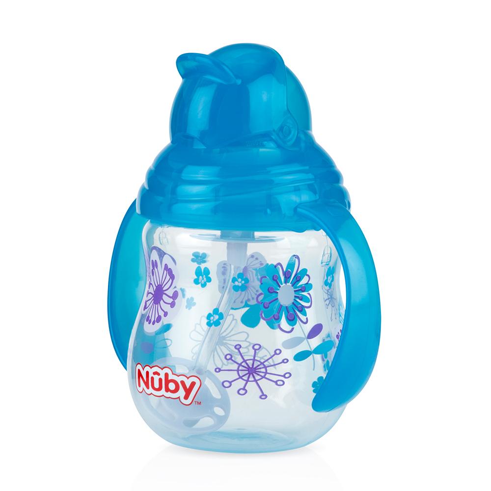 Nuby 卡拉雙耳彈跳吸管杯(360度吸管)270ml(幾何款)-藍(12m+)