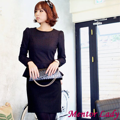 【Mentor Lady】荷葉衣擺滾邊毛料連身裙 (共二色)