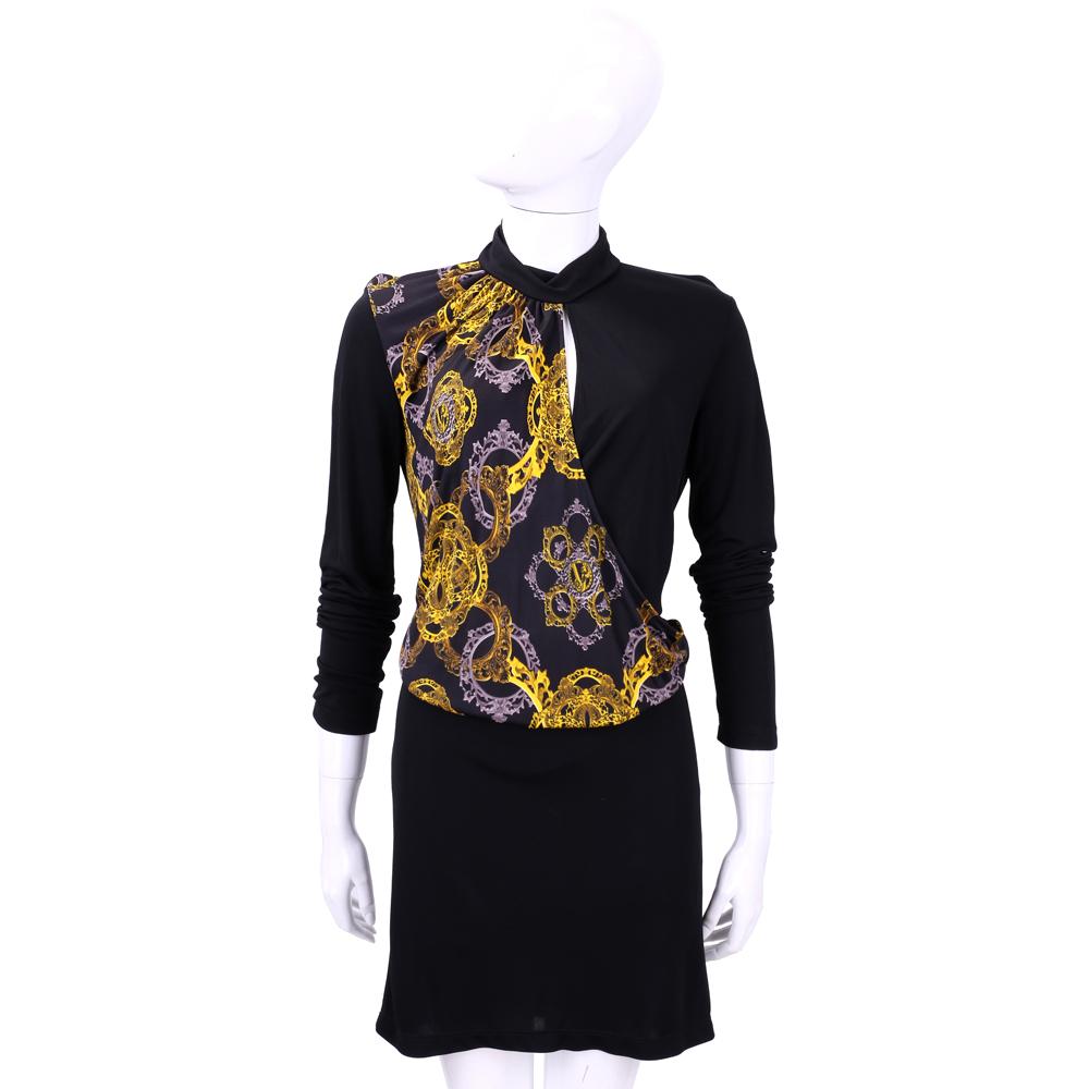 VERSACE 黑色圖騰長袖洋裝