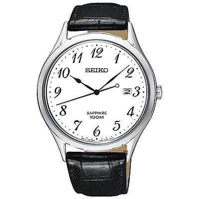 SEIKO精工 日系都會男錶(SGEH75P1)-白x黑/40mm