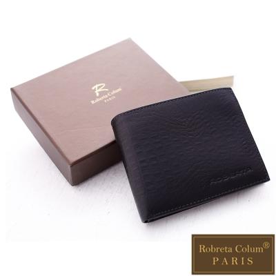 Roberta Colum - 牛皮鱷魚紋可拆式卡片夾附零錢袋短夾-黑色