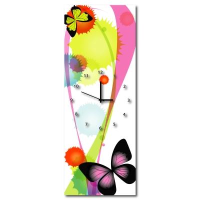 24mama掛畫 - 三聯式流行家飾無框藝術掛畫時鐘-花蝶紛飛-30x80cm