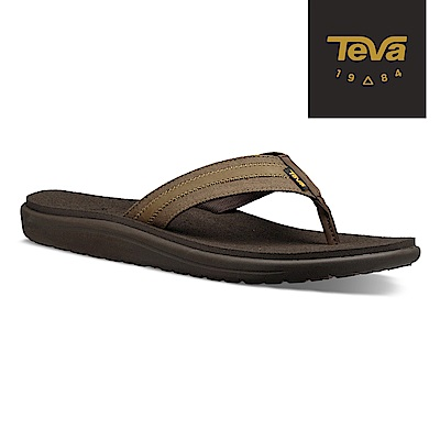 TEVA 美國-男 Voya Canvas Flip 經典織帶夾腳拖鞋 深橄欖綠