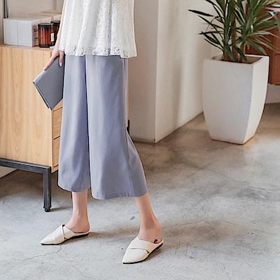 雙口袋設計純色寬版八分褲-OB嚴選