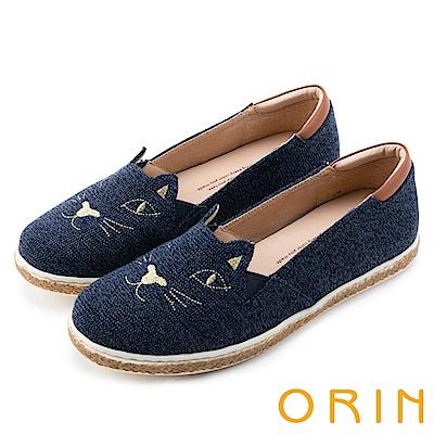 ORIN 俏麗女孩 趣味貓咪甜美平底便鞋-藍色
