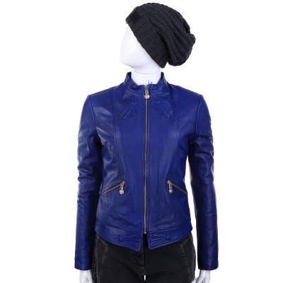 VERSACE 寶藍色拉鍊造型口袋羊皮外套(展示品)