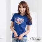 Victoria 心愛和平印花TEE-女-寶藍