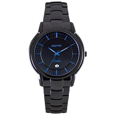 GOTO 簡約輕薄時尚腕錶-IP黑x藍/42mm