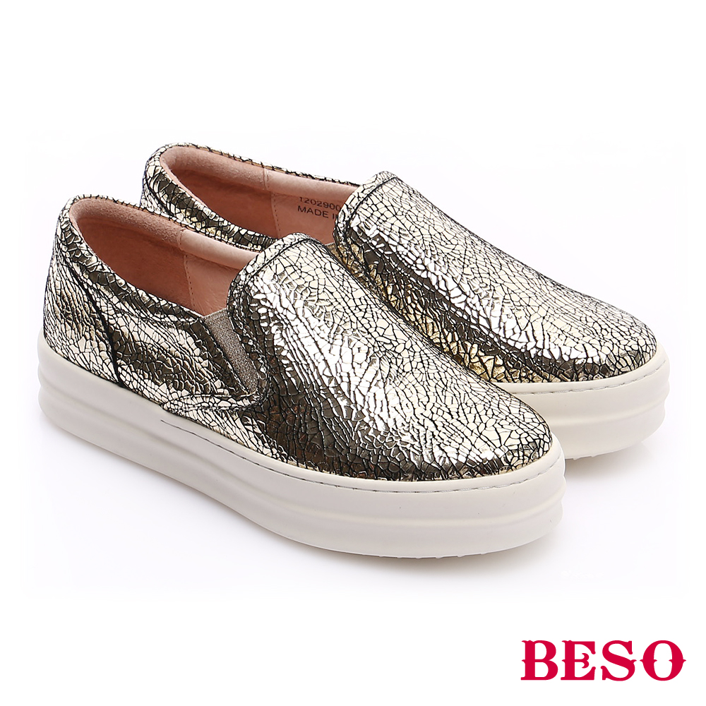 BESO 時尚核心 百搭經典爆裂紋懶人厚底休閒鞋 金