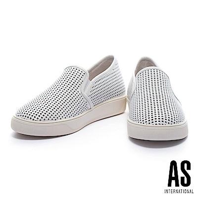 休閒鞋 AS 簡約獨特方形沖孔設計全真皮厚底休閒鞋-白
