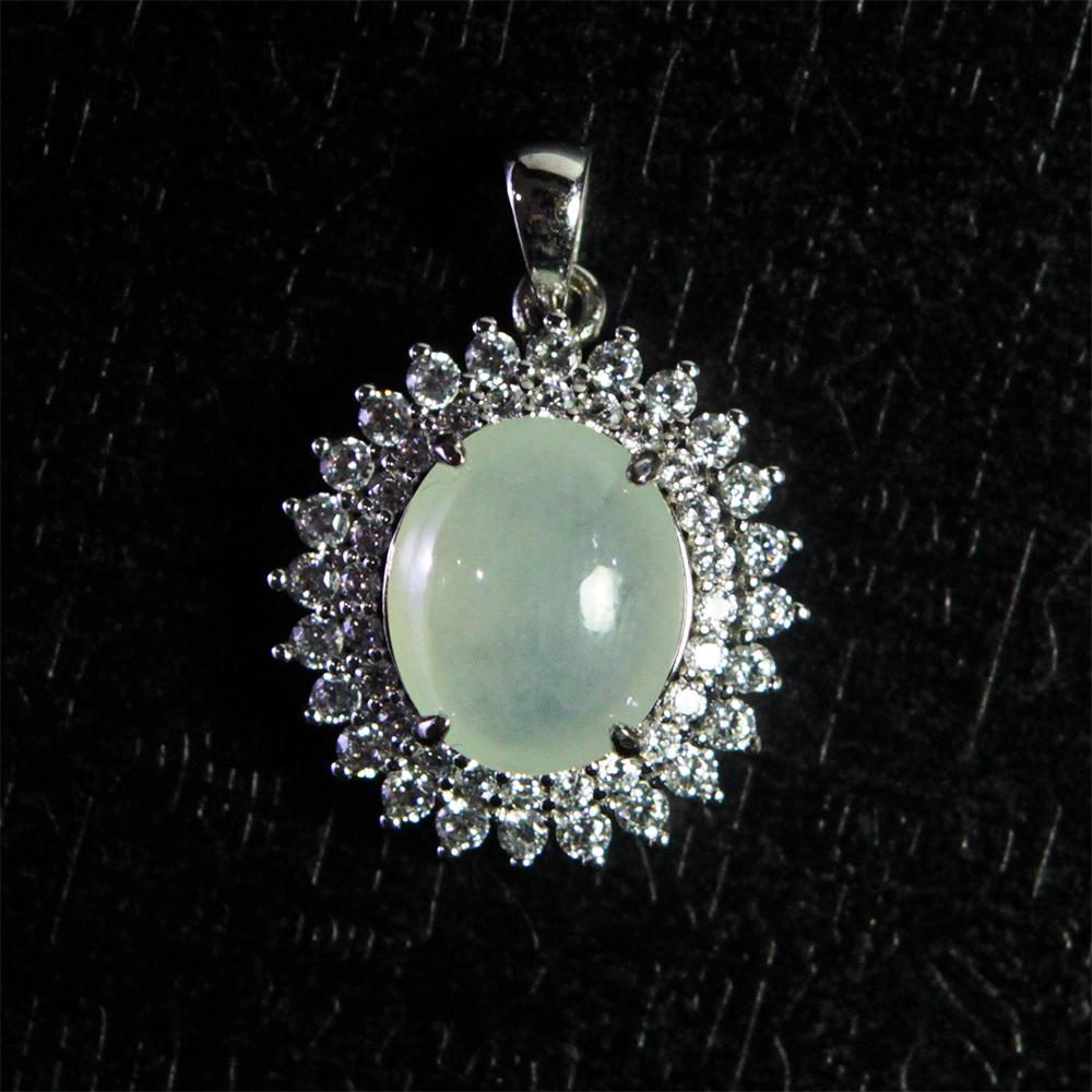 A1寶石  收藏級-冰種翡翠蛋面墜飾-贈墜頭 附證書