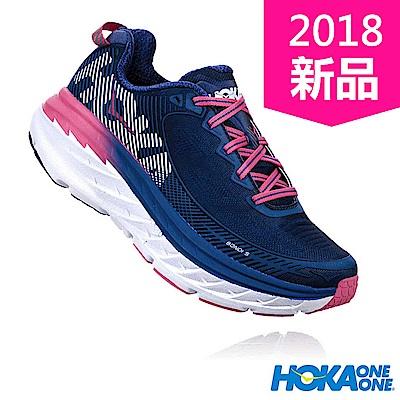 HOKA ONE ONE 女 BONDI 5 WIDE 路跑鞋 設計藍/粉紅