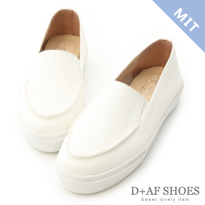D+AF 輕快步伐.MIT立體縫線厚底懶人鞋*白
