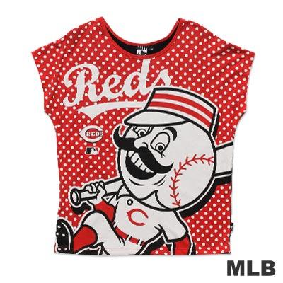 MLB-辛辛那提紅人隊寬版圓領水玉印花T恤-紅(女)