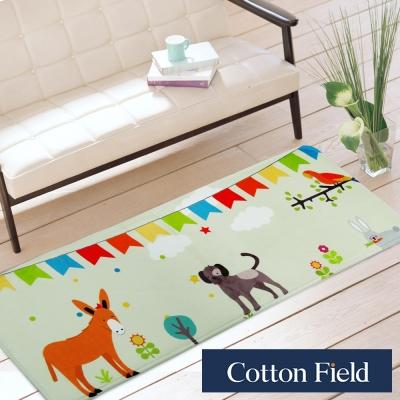棉花田 小毛驢和狗 法蘭絨印花防滑走道毯(39x108cm)