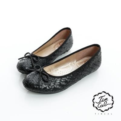 TINCAL-甜美優雅-精緻編織蝴蝶結飾平底娃娃鞋-黑色