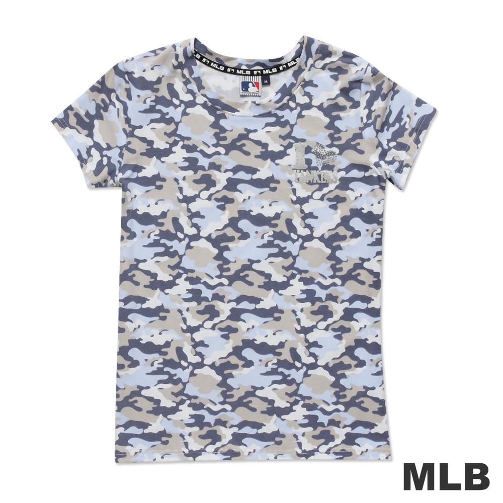 MLB-紐約洋基隊滿版迷彩圓領愛心燙銀印花T恤-紫(女)
