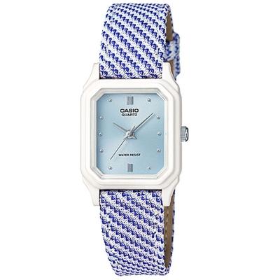 CASIO 復古格鳥紋時尚風指針腕錶(LQ-142LB-2A2)-水藍面/22.5mm