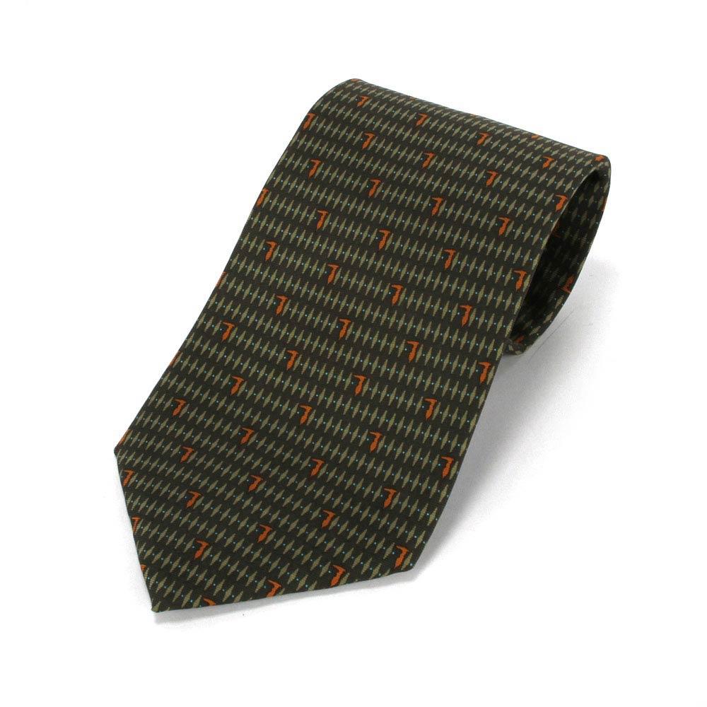 TRUSSARDI 尊榮細緻LOGO時尚領帶-墨綠/橘