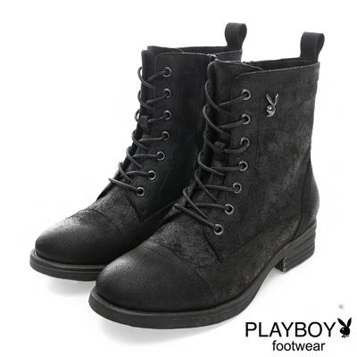 PLAYBOY 英倫新作 仿舊感個性綁帶短靴-黑(女)