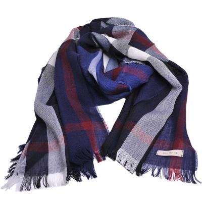 BURBERRY 經典格紋美麗諾羊毛混喀什米爾圍巾(藍色)
